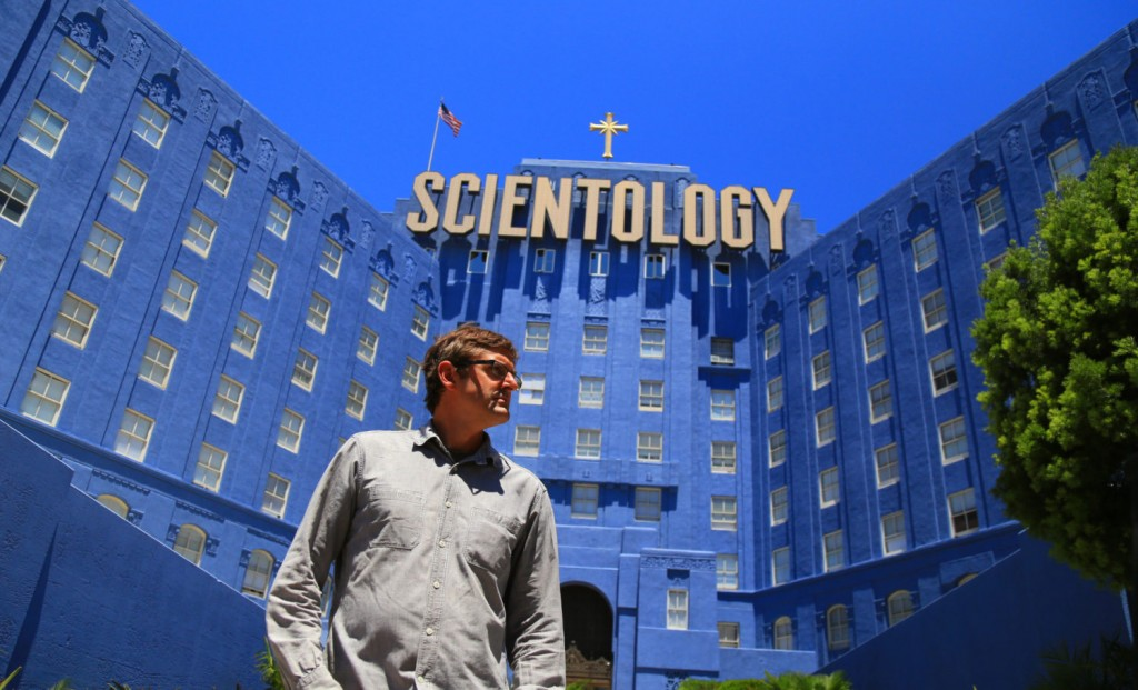Picture shows_WS Louis Theroux outside The Church of Scientology building in LA