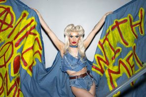 Drag artist Grace Oni Smith poses in character as Hedwig before a performance on the Live Cinema UK tour