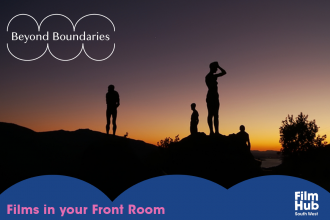 Film Still of a sunset, three people stand on a hill as silhouettes . A graphic Beyond Boundaries and Film Hub logo are in white in the corner